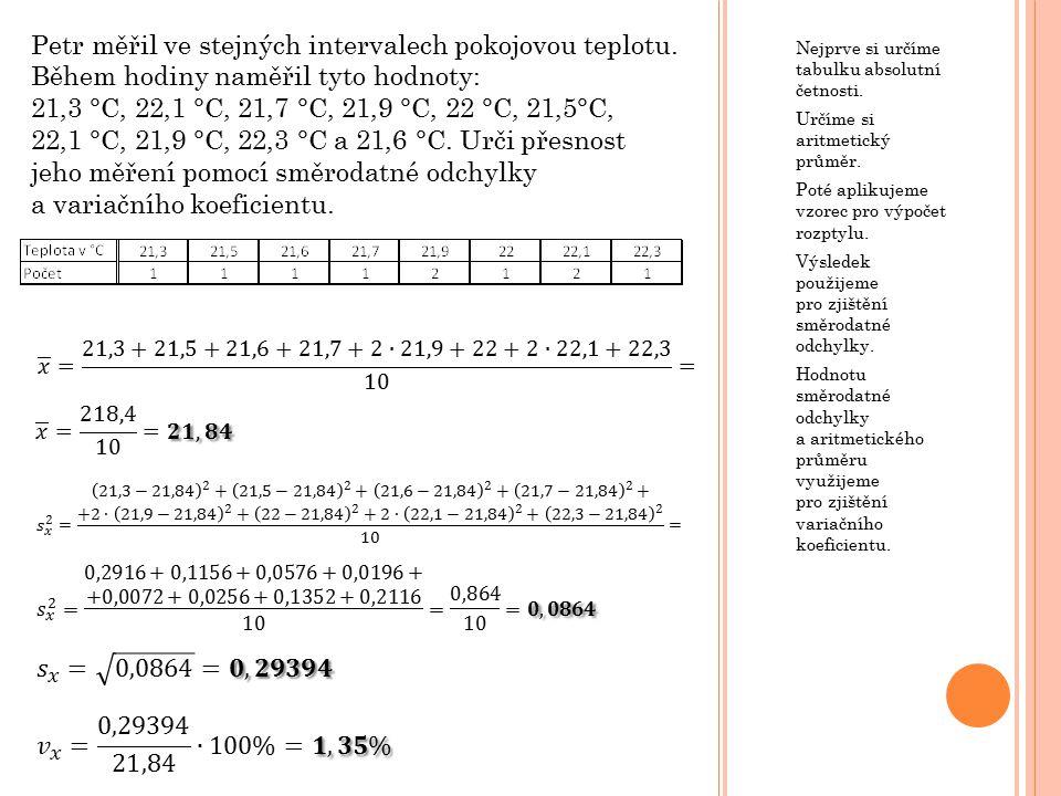 Nejprve si určíme tabulku absolutní četnosti. Určíme si aritmetický průměr.