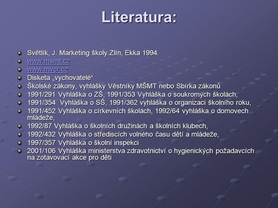 """Literatura: Světlík, J. Marketing školy.Zlín, Ekka 1994. www.msmt.cz www.mvcr.cz Disketa """"vychovatelé"""" Školské zákony, vyhlášky Věstníky MŠMT nebo Sbí"""