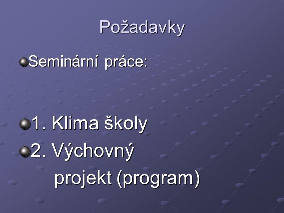 Požadavky Seminární práce: 1. Klima školy 2. Výchovný projekt (program) projekt (program)