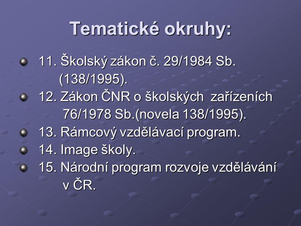 Tematické okruhy: 11. Školský zákon č. 29/1984 Sb. (138/1995). (138/1995). 12. Zákon ČNR o školských zařízeních 76/1978 Sb.(novela 138/1995). 76/1978