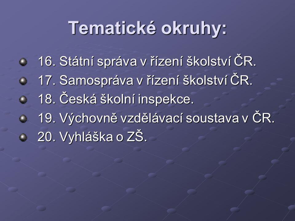 Tematické okruhy: 21.Dětská práva v ČR. 22. Vyhláška o SŠ.