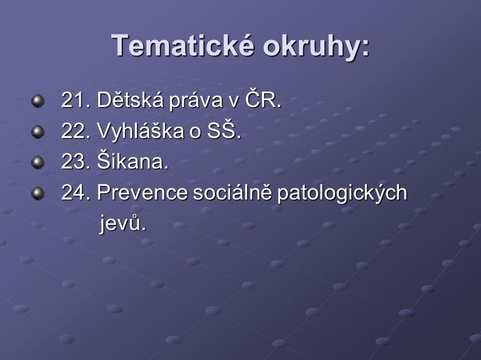 Tematické okruhy: 21. Dětská práva v ČR. 22. Vyhláška o SŠ. 23. Šikana. 24. Prevence sociálně patologických jevů. jevů.