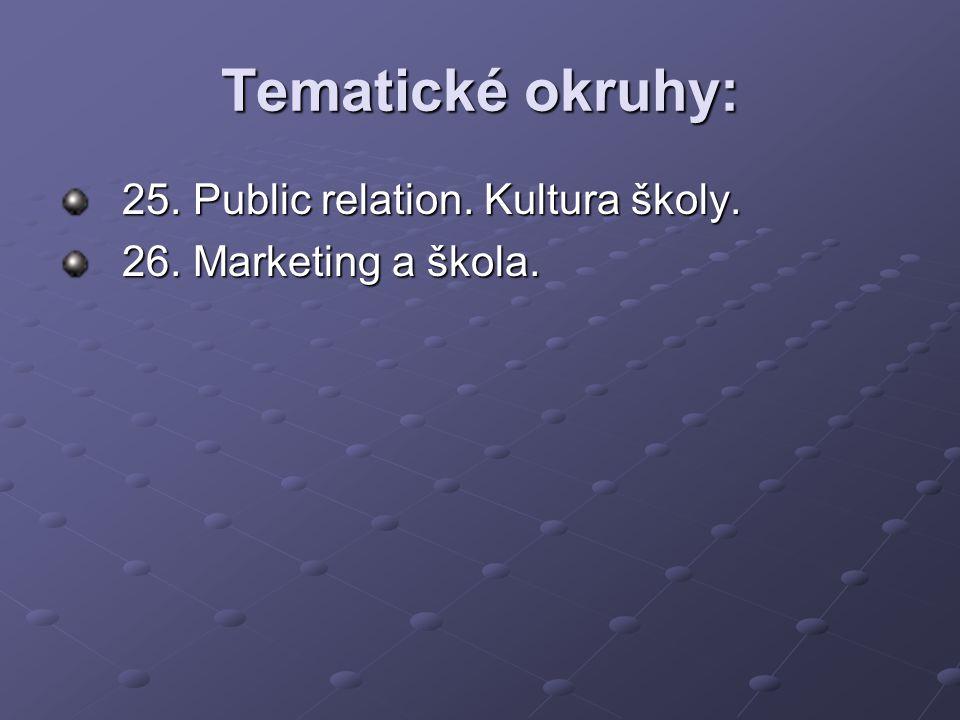 Tematické okruhy: 25. Public relation. Kultura školy. 26. Marketing a škola.