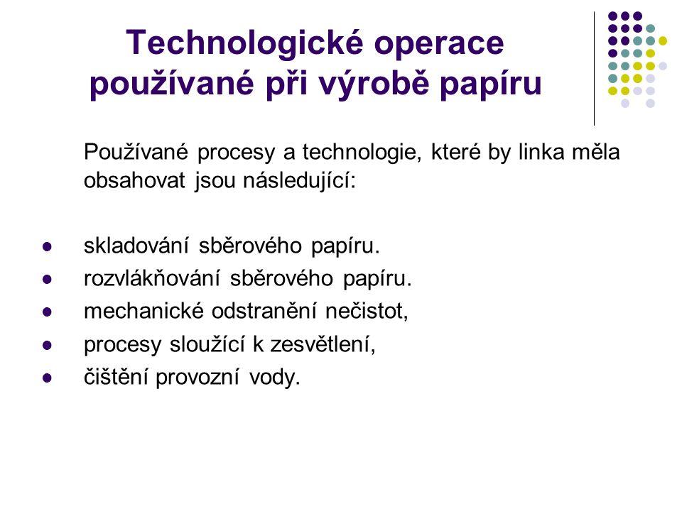 Technologické operace používané při výrobě papíru Používané procesy a technologie, které by linka měla obsahovat jsou následující: skladování sběrového papíru.