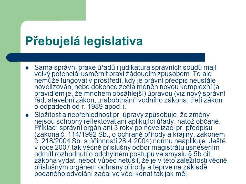 Přebujelá legislativa Sama správní praxe úřadů i judikatura správních soudů mají velký potenciál usměrnit praxi žádoucím způsobem. To ale nemůže fungo