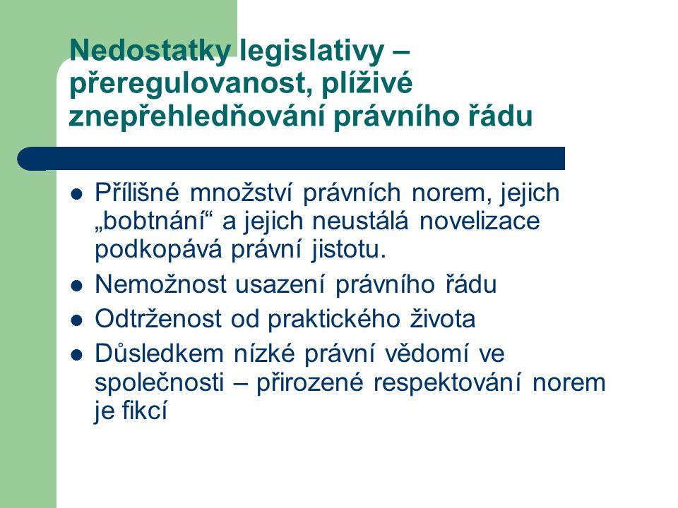 """Nedostatky legislativy – přeregulovanost, plíživé znepřehledňování právního řádu Přílišné množství právních norem, jejich """"bobtnání"""" a jejich neustálá"""