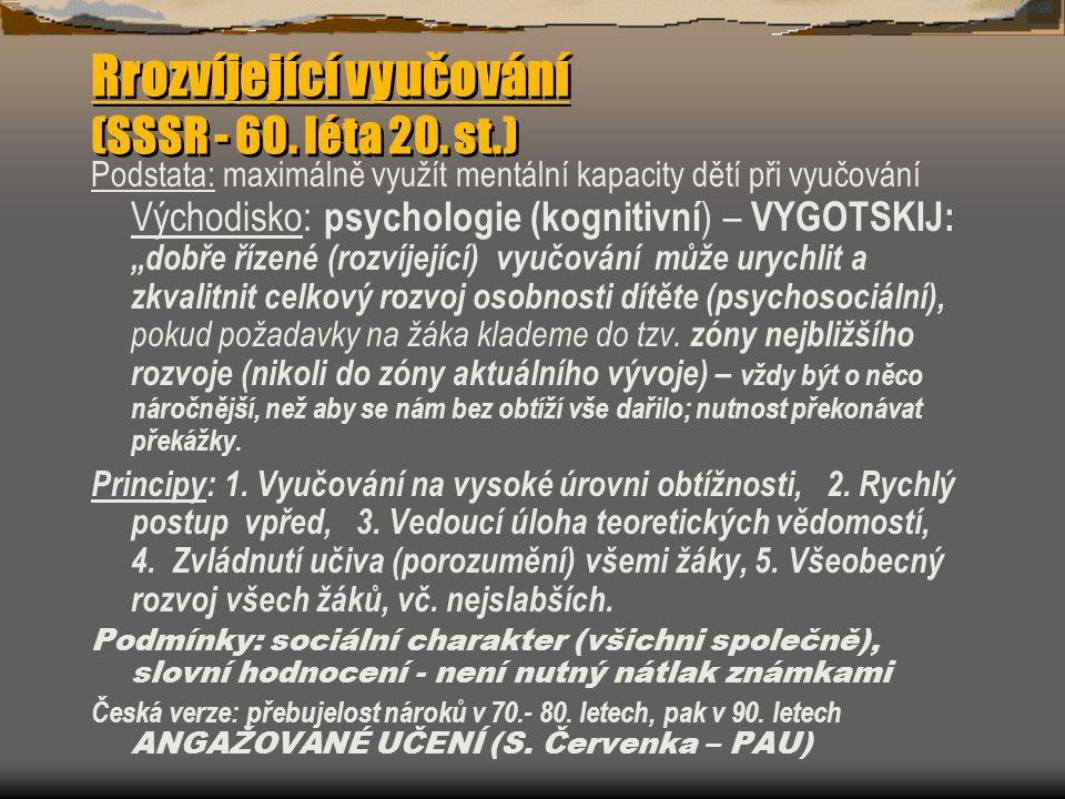 Rrozvíjející vyučování (SSSR - 60.léta 20.