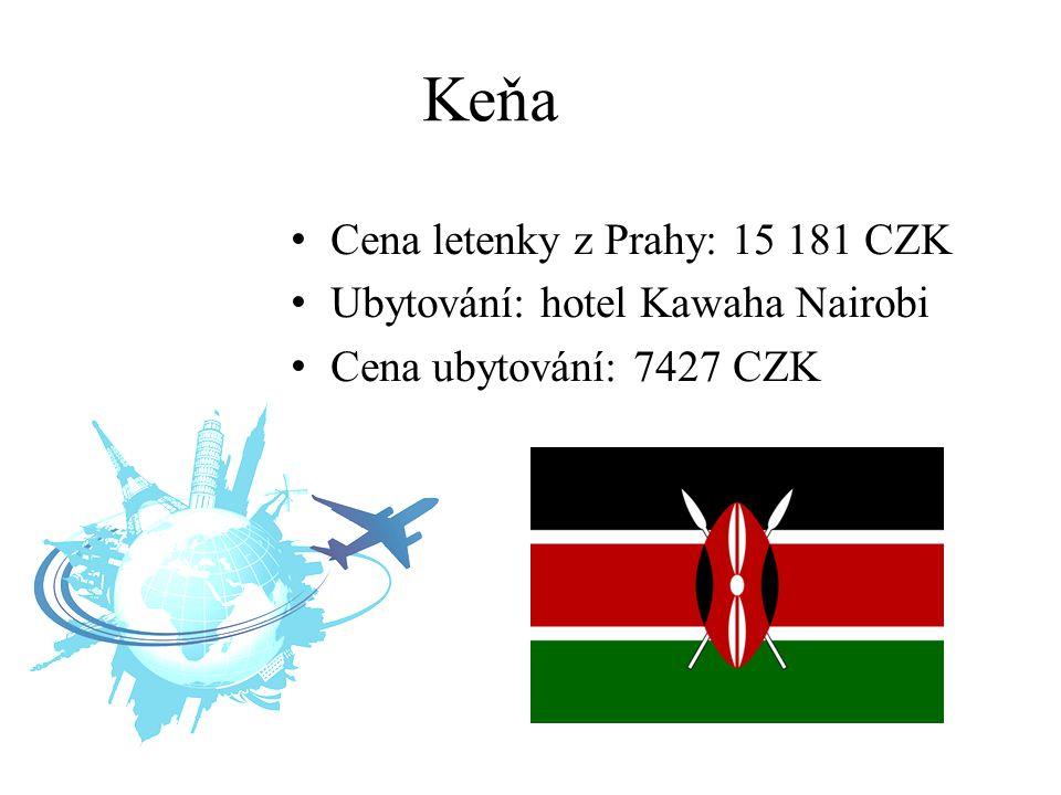 Keňa Cena letenky z Prahy: 15 181 CZK Ubytování: hotel Kawaha Nairobi Cena ubytování: 7427 CZK