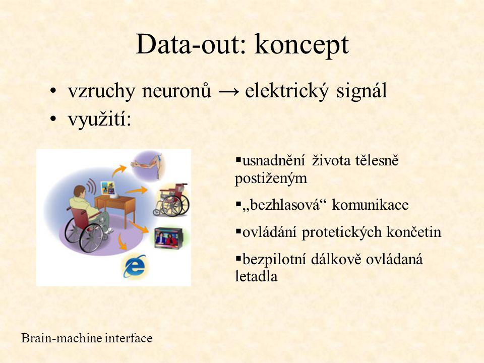 Data-out: princip neinvazivní metody: EEG, MEG invazivní metody: implanty do mozku Brain-machine interface  snímány vzruchy na jednotlivých neuronech  Miguel Nicolelis objevil, že každý pohyb vykonávají neurony po celém motorickém kortexu  elektrody počítají množství vypálených vzruchů, čímž určují dominantní preferovaný směr  300ms prodleva mezi vznikem neurálního signálu a provedením příslušného pohybu