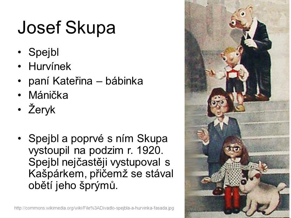 Josef Skupa Spejbl Hurvínek paní Kateřina – bábinka Mánička Žeryk Spejbl a poprvé s ním Skupa vystoupil na podzim r.