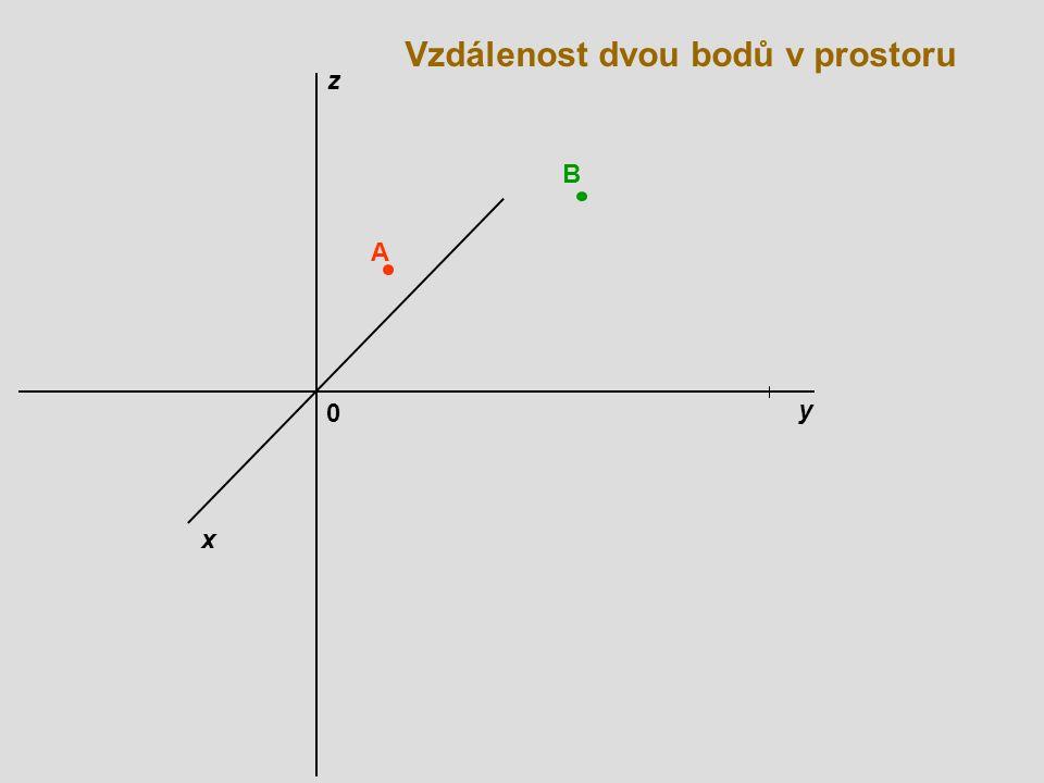 0 Vzdálenost dvou bodů v prostoru x y z A B