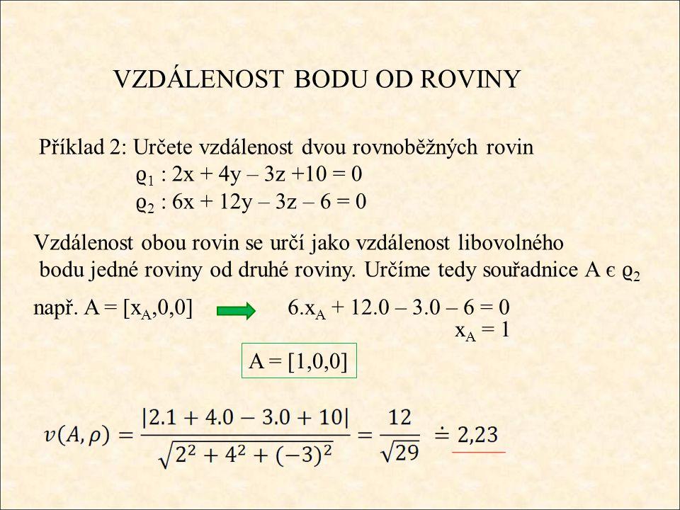 VZDÁLENOST BODU OD ROVINY Příklad 2: Určete vzdálenost dvou rovnoběžných rovin ϱ 1 : 2x + 4y – 3z +10 = 0 ϱ 2 : 6x + 12y – 3z – 6 = 0 Vzdálenost obou rovin se určí jako vzdálenost libovolného bodu jedné roviny od druhé roviny.