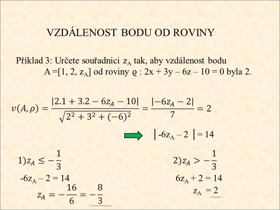 VZDÁLENOST BODU OD ROVINY Příklad 3: Určete souřadnici z A tak, aby vzdálenost bodu A =[1, 2, z A ] od roviny ϱ : 2x + 3y – 6z – 10 = 0 byla 2.