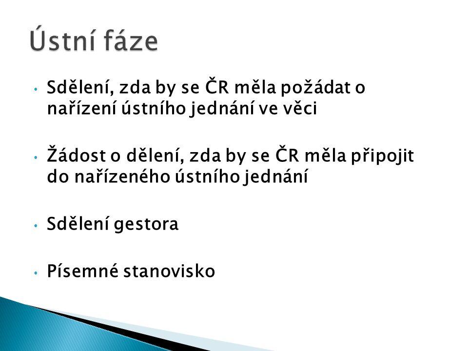 Sdělení, zda by se ČR měla požádat o nařízení ústního jednání ve věci Žádost o dělení, zda by se ČR měla připojit do nařízeného ústního jednání Sdělen