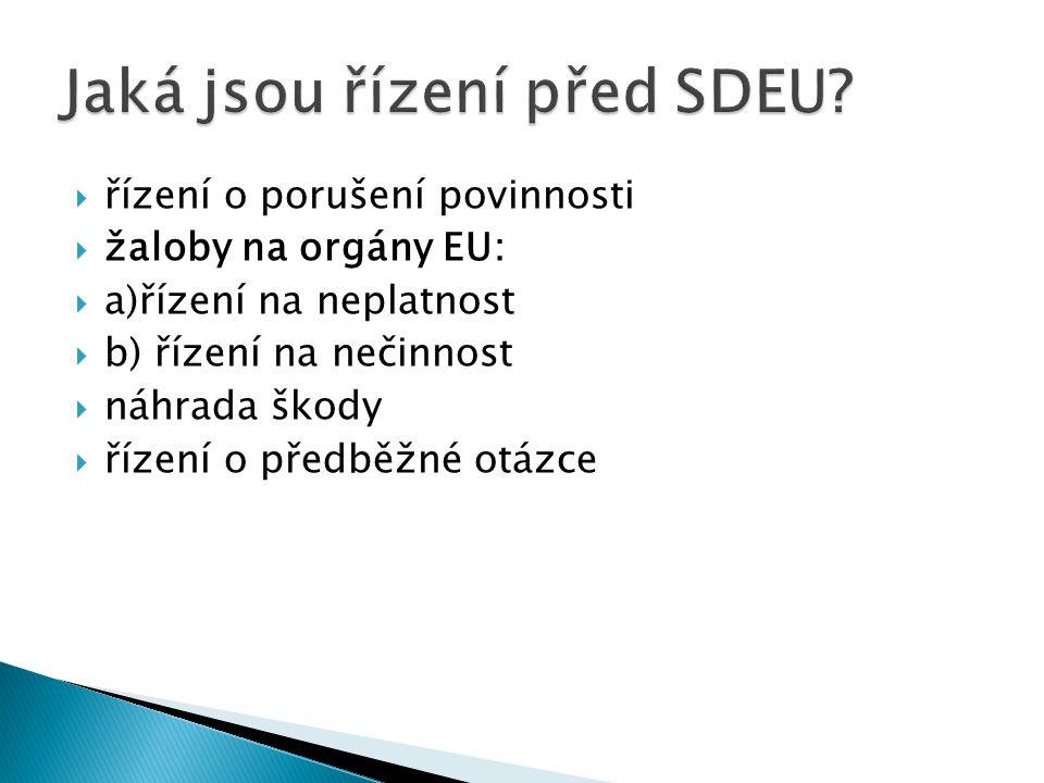  řízení o porušení povinnosti  žaloby na orgány EU:  a)řízení na neplatnost  b) řízení na nečinnost  náhrada škody  řízení o předběžné otázce