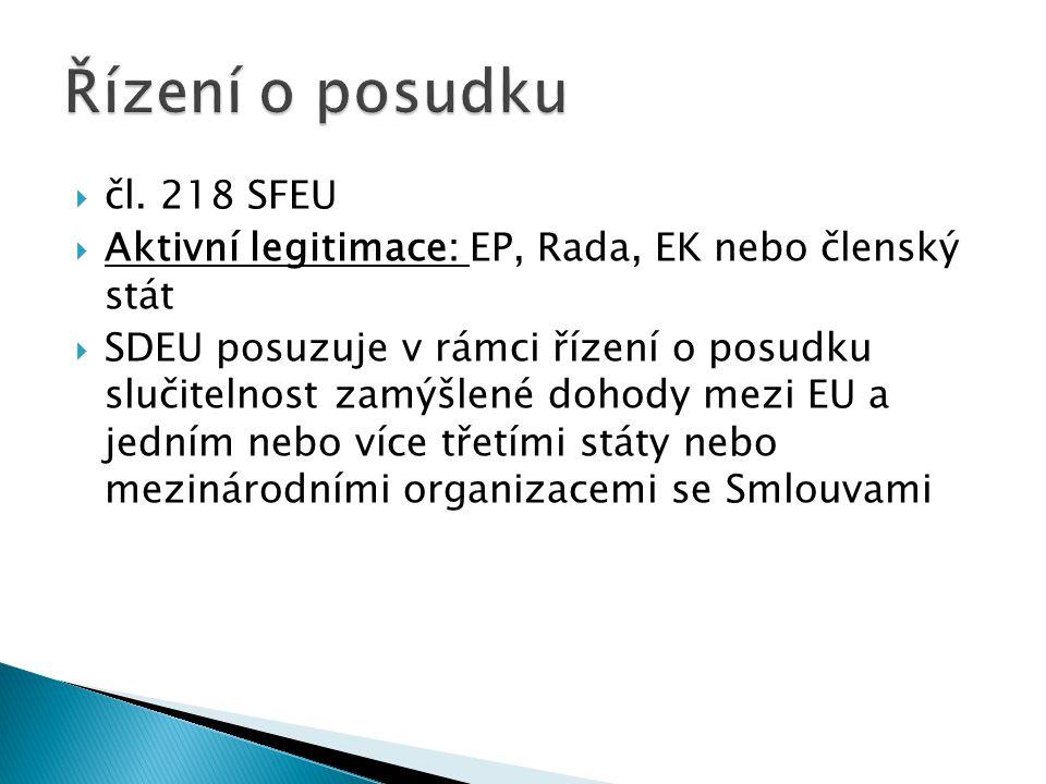  čl. 218 SFEU  Aktivní legitimace: EP, Rada, EK nebo členský stát  SDEU posuzuje v rámci řízení o posudku slučitelnost zamýšlené dohody mezi EU a j