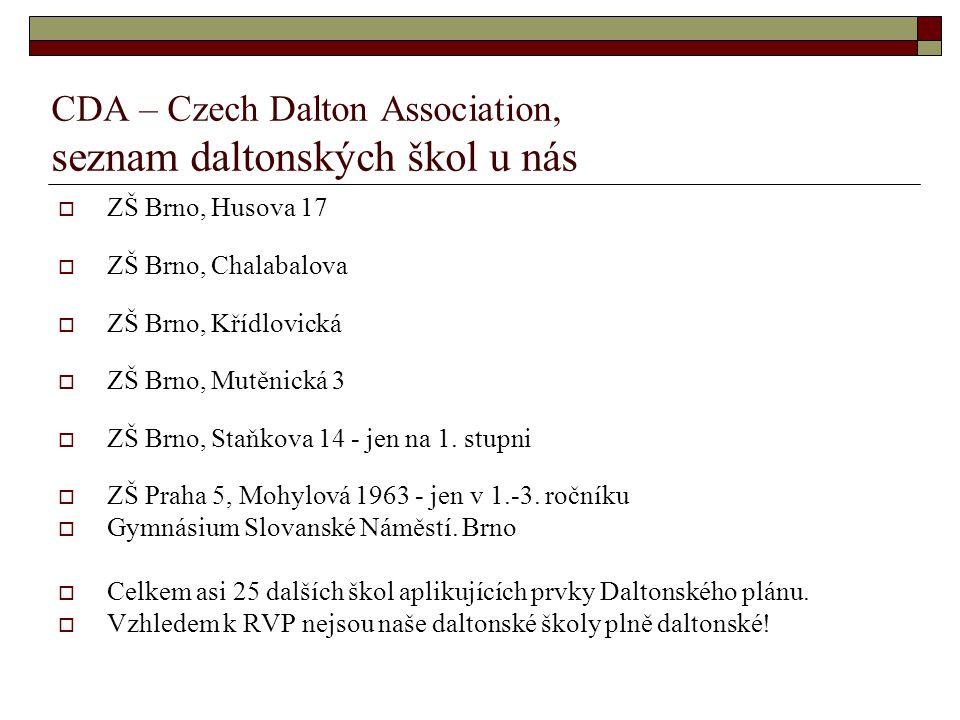CDA – Czech Dalton Association, seznam daltonských škol u nás  ZŠ Brno, Husova 17  ZŠ Brno, Chalabalova  ZŠ Brno, Křídlovická  ZŠ Brno, Mutěnická 3  ZŠ Brno, Staňkova 14 - jen na 1.