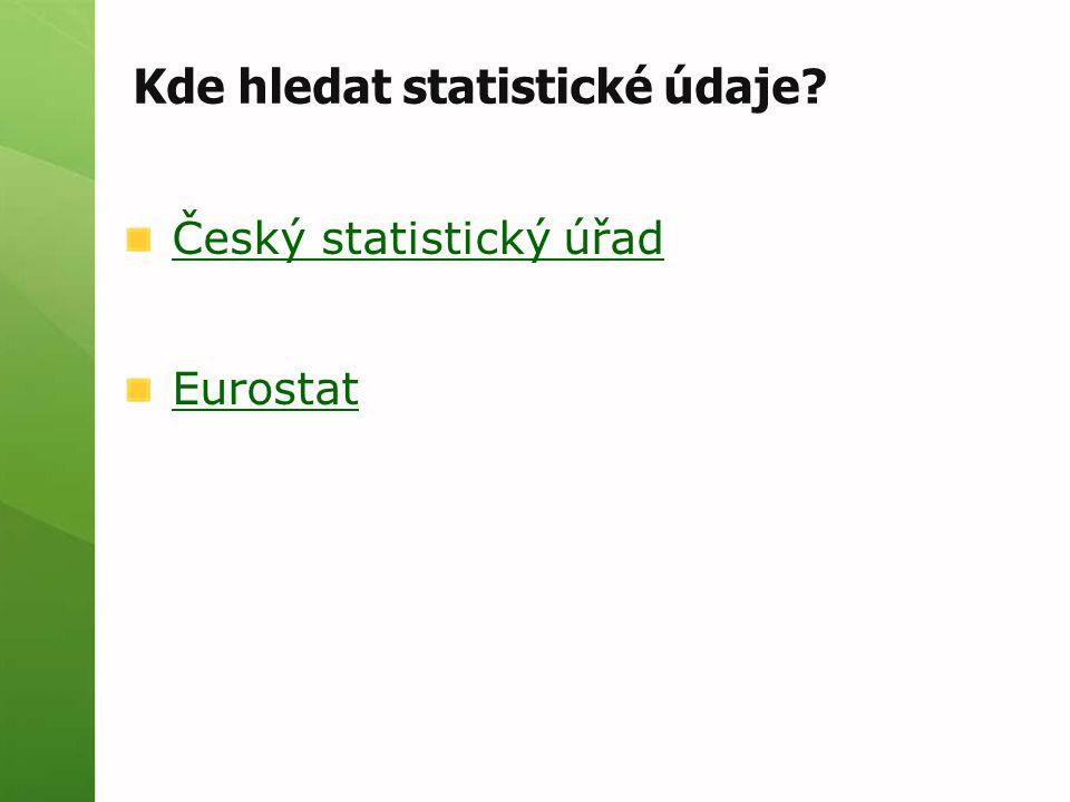 Kde hledat statistické údaje? Český statistický úřad Eurostat