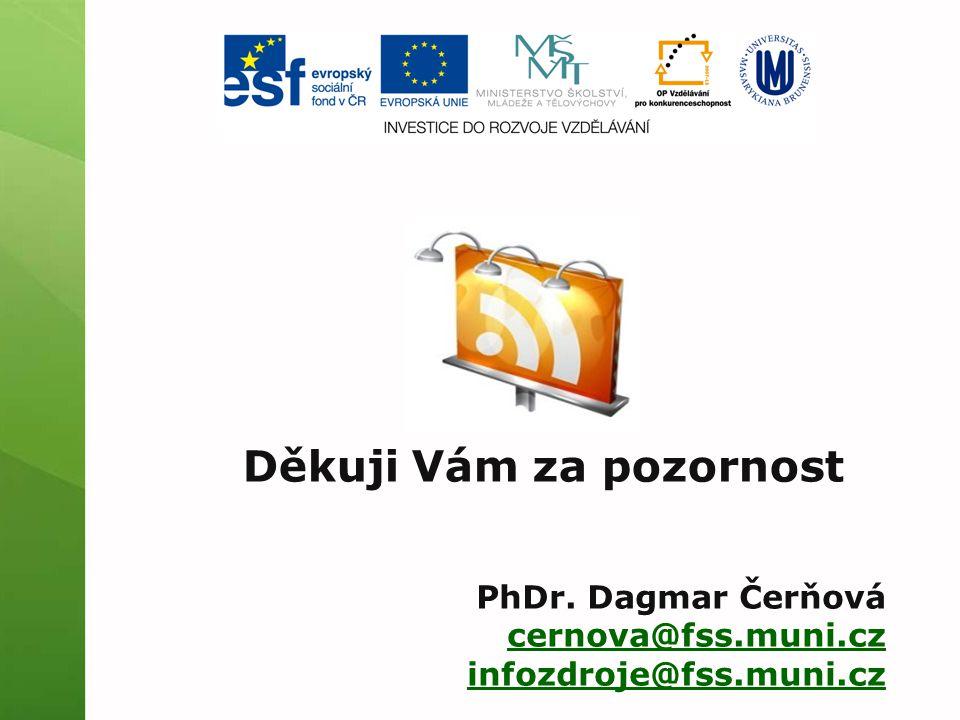 Děkuji Vám za pozornost PhDr. Dagmar Čerňová cernova@fss.muni.cz infozdroje@fss.muni.cz