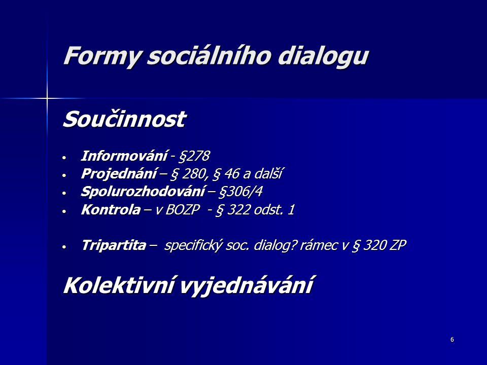 6 Formy sociálního dialogu Součinnost Informování - §278 Informování - §278 Projednání – § 280, § 46 a další Projednání – § 280, § 46 a další Spolurozhodování – §306/4 Spolurozhodování – §306/4 Kontrola – v BOZP - § 322 odst.