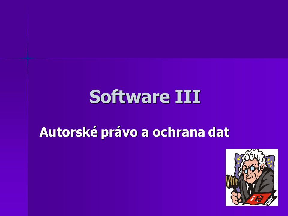 Software III Autorské právo a ochrana dat