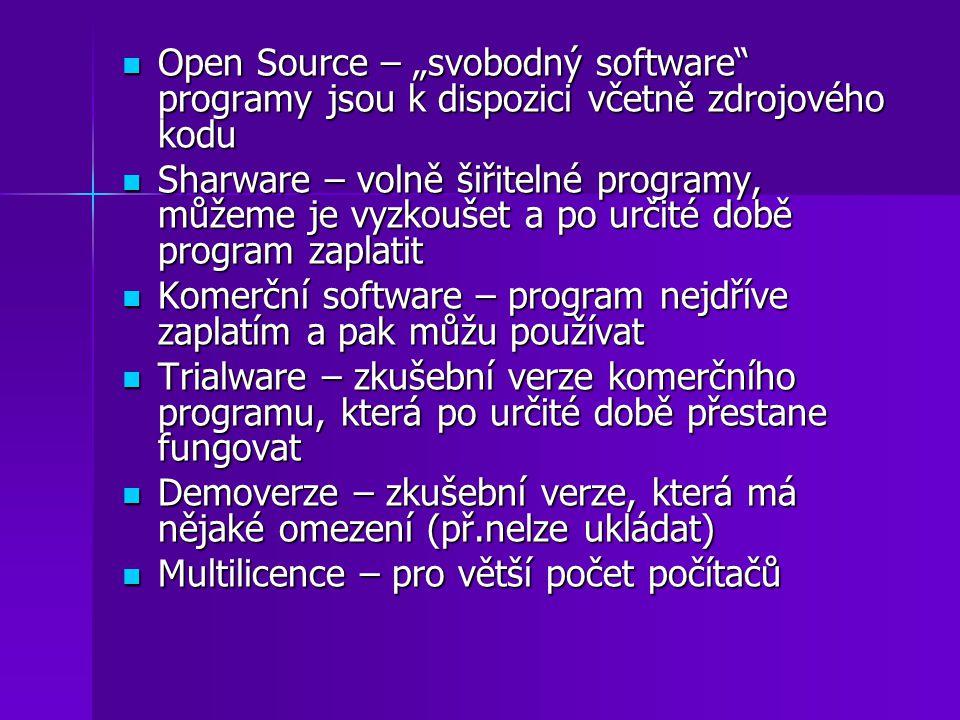 """Open Source – """"svobodný software"""" programy jsou k dispozici včetně zdrojového kodu Open Source – """"svobodný software"""" programy jsou k dispozici včetně"""