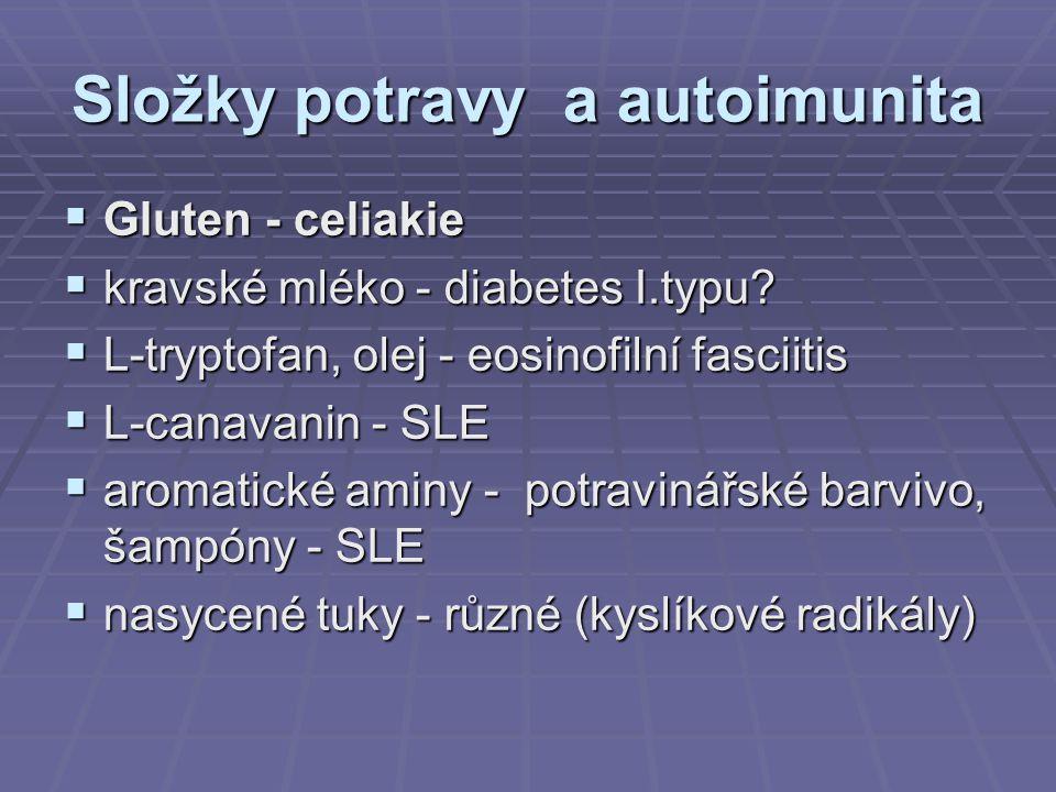 Složky potravy a autoimunita  Gluten - celiakie  kravské mléko - diabetes I.typu?  L-tryptofan, olej - eosinofilní fasciitis  L-canavanin - SLE 