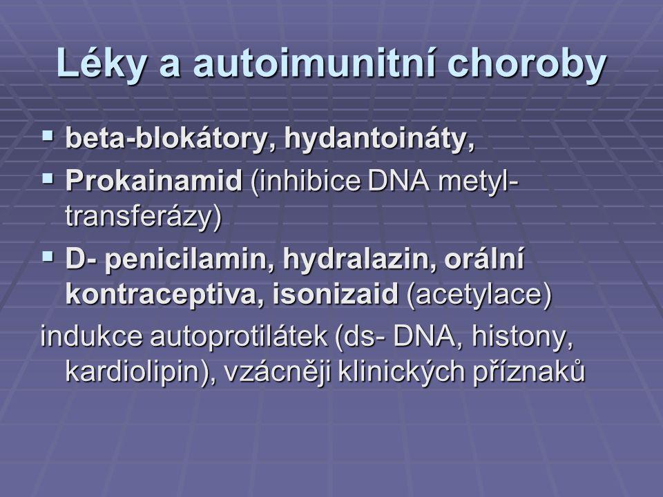 Léky a autoimunitní choroby  beta-blokátory, hydantoináty,  Prokainamid (inhibice DNA metyl- transferázy)  D- penicilamin, hydralazin, orální kontr