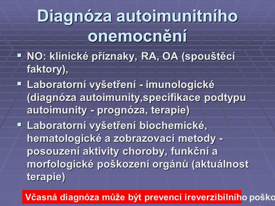 Diagnóza autoimunitního onemocnění  NO: klinické příznaky, RA, OA (spouštěcí faktory),  Laboratorní vyšetření - imunologické (diagnóza autoimunity,s