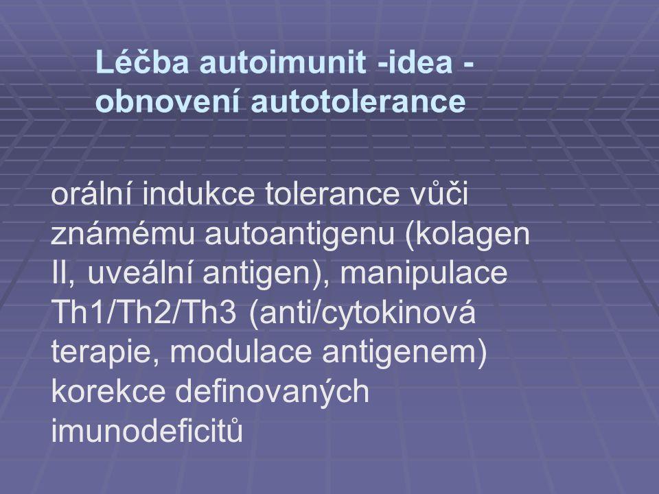 Léčba autoimunit -idea - obnovení autotolerance orální indukce tolerance vůči známému autoantigenu (kolagen II, uveální antigen), manipulace Th1/Th2/T