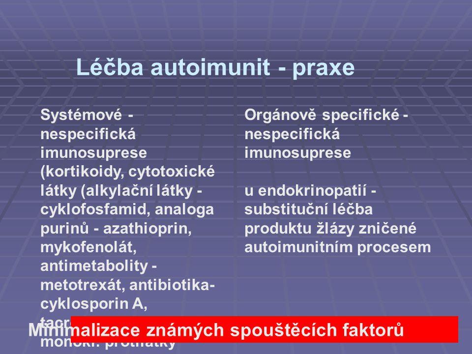 Léčba autoimunit - praxe Systémové - nespecifická imunosuprese (kortikoidy, cytotoxické látky (alkylační látky - cyklofosfamid, analoga purinů - azath