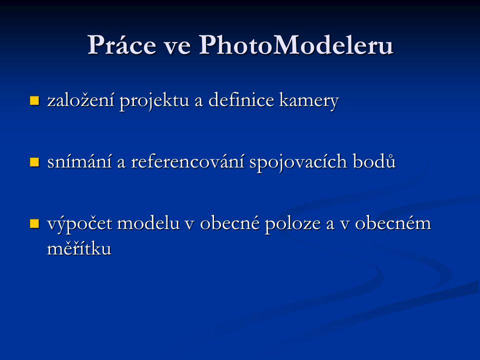 Práce ve PhotoModeleru založení projektu a definice kamery založení projektu a definice kamery snímání a referencování spojovacích bodů snímání a refe