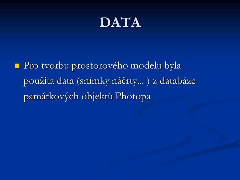 DATA Pro tvorbu prostorového modelu byla Pro tvorbu prostorového modelu byla použita data (snímky náčrty... ) z databáze památkových objektů Photopa