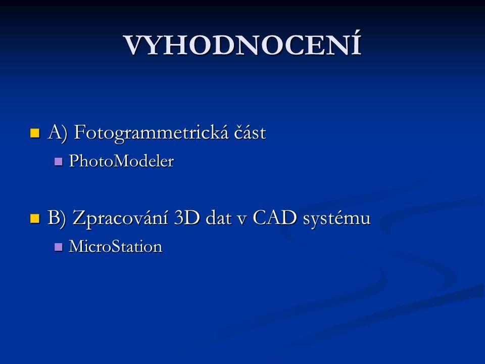VYHODNOCENÍ A) Fotogrammetrická část A) Fotogrammetrická část PhotoModeler PhotoModeler B) Zpracování 3D dat v CAD systému B) Zpracování 3D dat v CAD