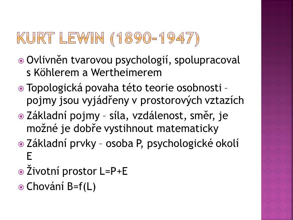  Ovlivněn tvarovou psychologií, spolupracoval s Köhlerem a Wertheimerem  Topologická povaha této teorie osobnosti – pojmy jsou vyjádřeny v prostorov