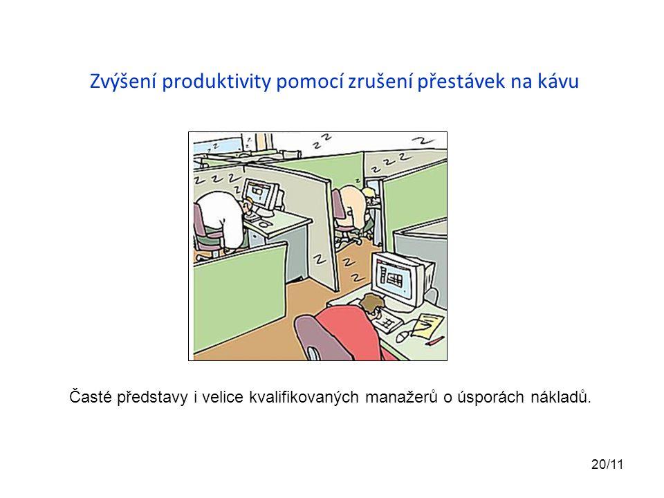 Zvýšení produktivity pomocí zrušení přestávek na kávu Časté představy i velice kvalifikovaných manažerů o úsporách nákladů. 20/11