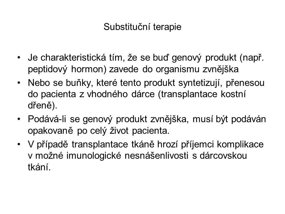Substituční terapie Je charakteristická tím, že se buď genový produkt (např.