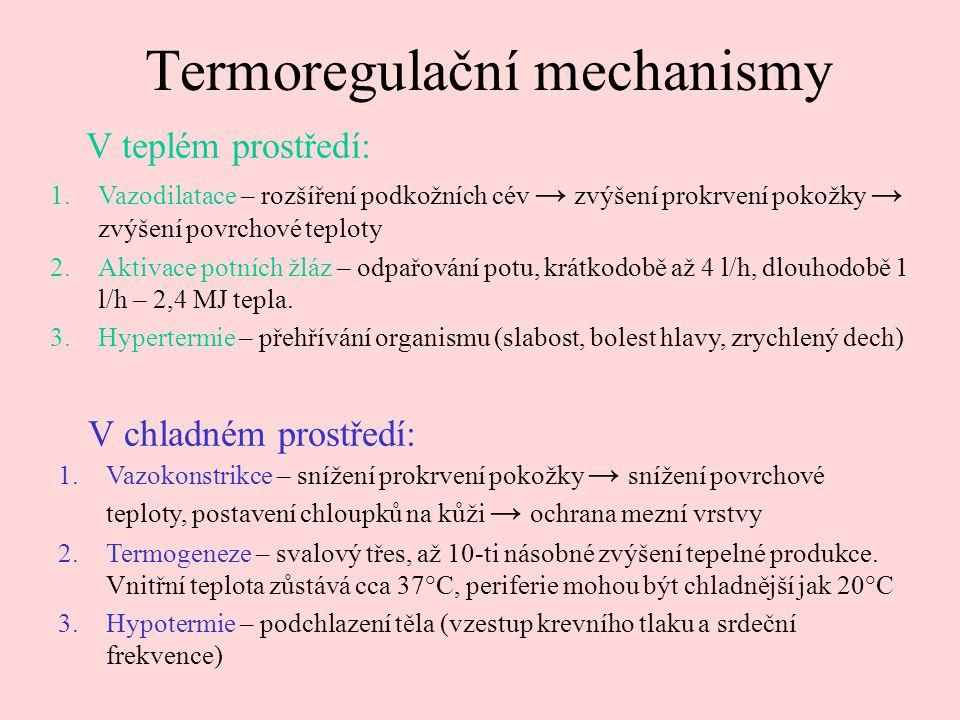 Termoregulační mechanismy 1.Vazodilatace – rozšíření podkožních cév → zvýšení prokrvení pokožky → zvýšení povrchové teploty 2.Aktivace potních žláz – odpařování potu, krátkodobě až 4 l/h, dlouhodobě 1 l/h – 2,4 MJ tepla.