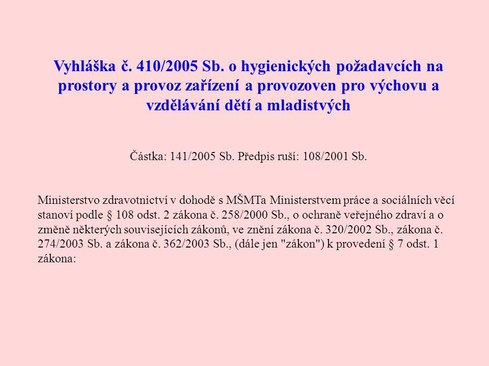 Vyhláška č. 410/2005 Sb. o hygienických požadavcích na prostory a provoz zařízení a provozoven pro výchovu a vzdělávání dětí a mladistvých Částka: 141
