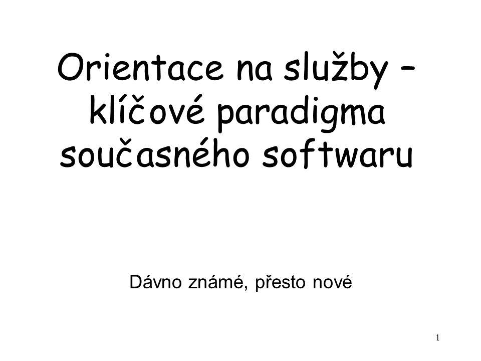 1 Orientace na služby – klíčové paradigma současného softwaru Dávno známé, přesto nové