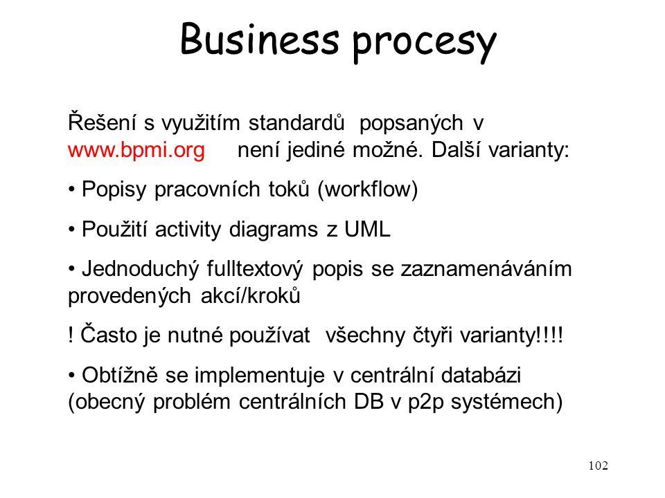 102 Business procesy Řešení s využitím standardů popsaných v www.bpmi.org není jediné možné.