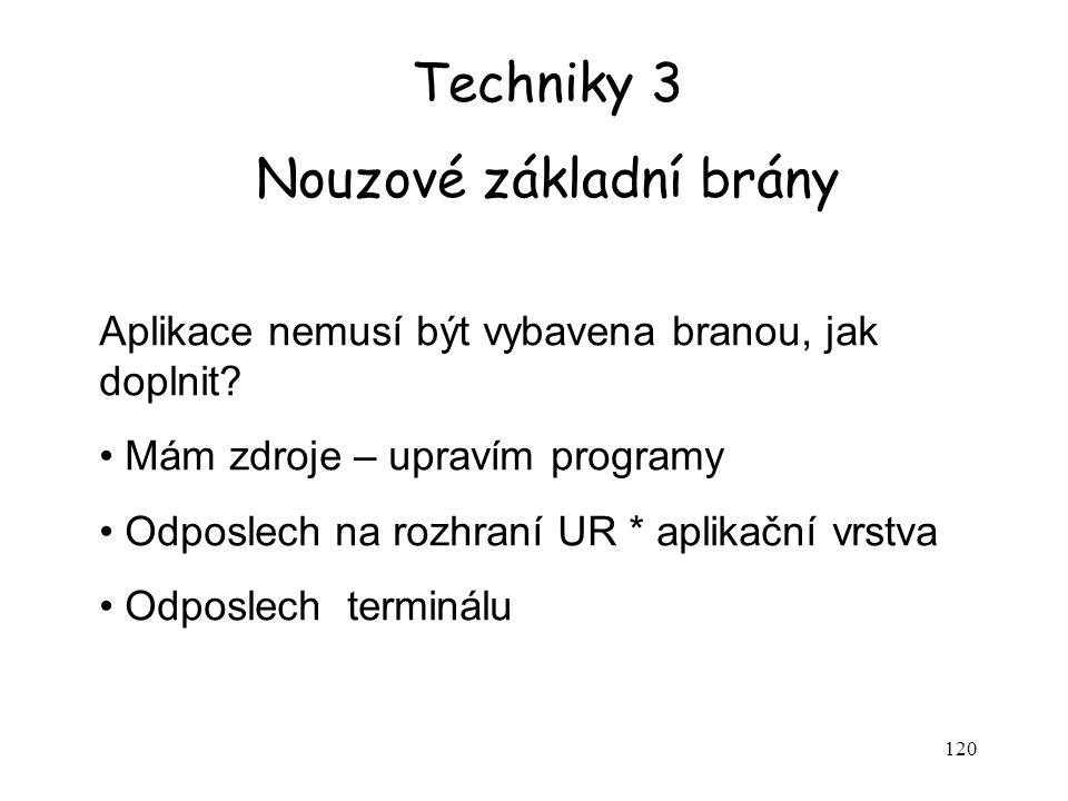 120 Techniky 3 Nouzové základní brány Aplikace nemusí být vybavena branou, jak doplnit.