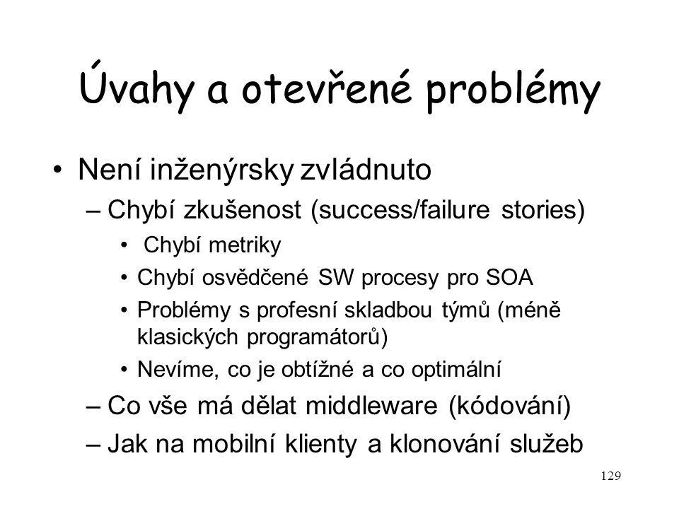 129 Úvahy a otevřené problémy Není inženýrsky zvládnuto –Chybí zkušenost (success/failure stories) Chybí metriky Chybí osvědčené SW procesy pro SOA Problémy s profesní skladbou týmů (méně klasických programátorů) Nevíme, co je obtížné a co optimální –Co vše má dělat middleware (kódování) –Jak na mobilní klienty a klonování služeb