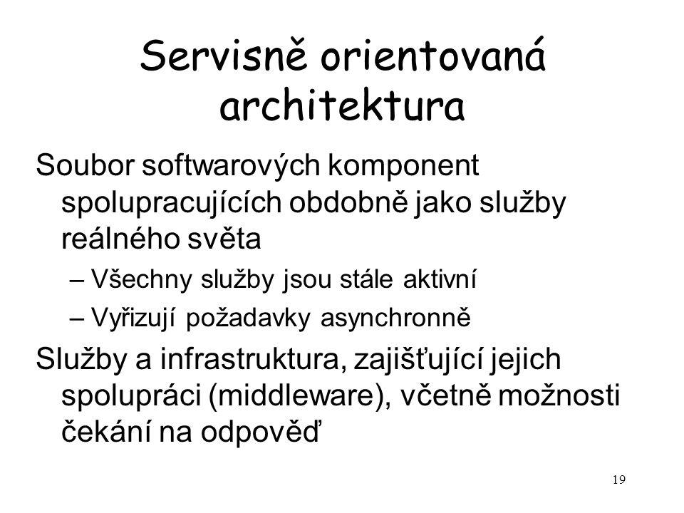 19 Servisně orientovaná architektura Soubor softwarových komponent spolupracujících obdobně jako služby reálného světa –Všechny služby jsou stále aktivní –Vyřizují požadavky asynchronně Služby a infrastruktura, zajišťující jejich spolupráci (middleware), včetně možnosti čekání na odpověď