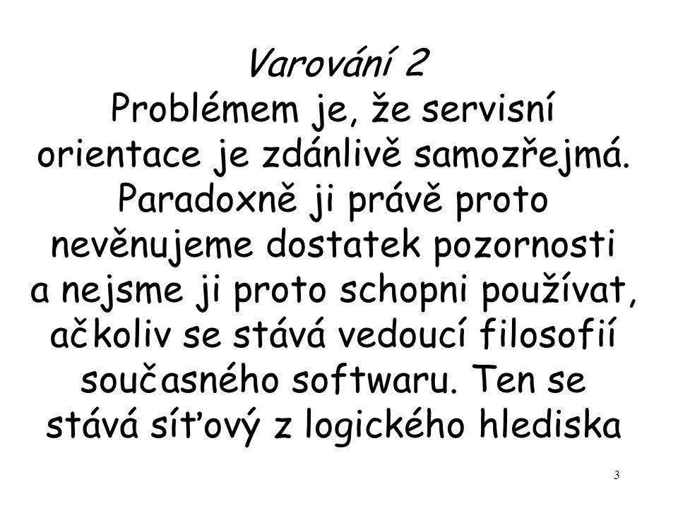3 Varování 2 Problémem je, že servisní orientace je zdánlivě samozřejmá.