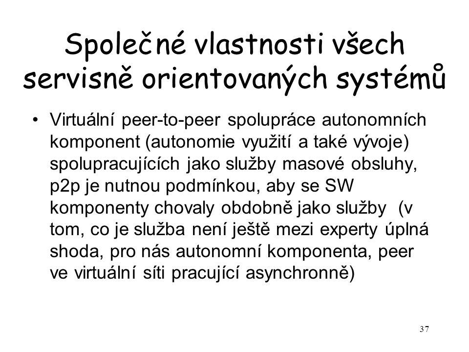 37 Společné vlastnosti všech servisně orientovaných systémů Virtuální peer-to-peer spolupráce autonomních komponent (autonomie využití a také vývoje) spolupracujících jako služby masové obsluhy, p2p je nutnou podmínkou, aby se SW komponenty chovaly obdobně jako služby (v tom, co je služba není ještě mezi experty úplná shoda, pro nás autonomní komponenta, peer ve virtuální síti pracující asynchronně)