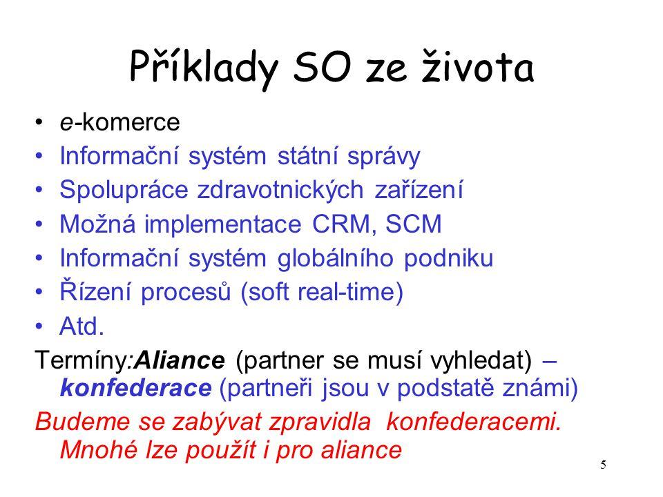 5 Příklady SO ze života e-komerce Informační systém státní správy Spolupráce zdravotnických zařízení Možná implementace CRM, SCM Informační systém globálního podniku Řízení procesů (soft real-time) Atd.