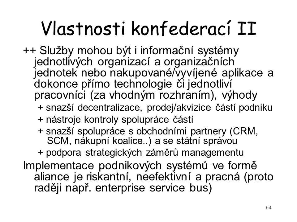 64 Vlastnosti konfederací II ++ Služby mohou být i informační systémy jednotlivých organizací a organizačních jednotek nebo nakupované/vyvíjené aplikace a dokonce přímo technologie či jednotliví pracovníci (za vhodným rozhraním), výhody + snazší decentralizace, prodej/akvizice částí podniku + nástroje kontroly spolupráce částí + snazší spolupráce s obchodními partnery (CRM, SCM, nákupní koalice..) a se státní správou + podpora strategických záměrů managementu Implementace podnikových systémů ve formě aliance je riskantní, neefektivní a pracná (proto raději např.