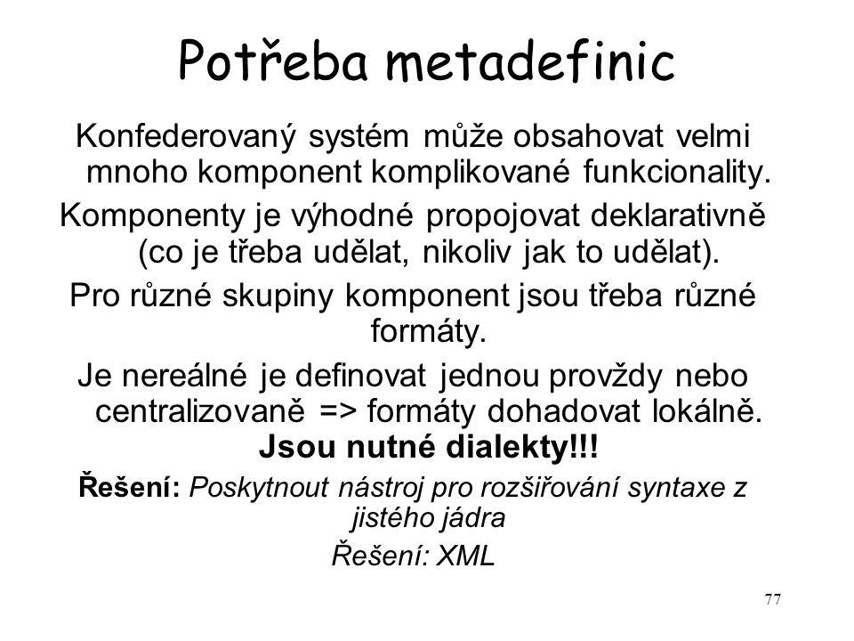 77 Potřeba metadefinic Konfederovaný systém může obsahovat velmi mnoho komponent komplikované funkcionality.