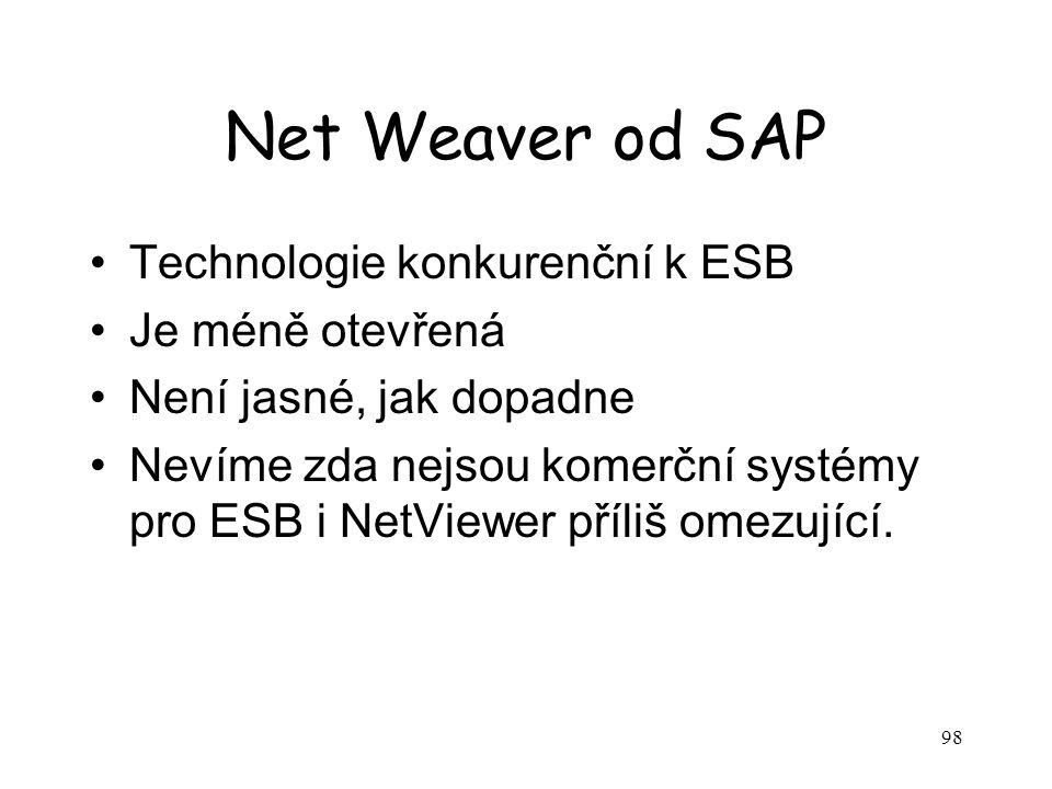 98 Net Weaver od SAP Technologie konkurenční k ESB Je méně otevřená Není jasné, jak dopadne Nevíme zda nejsou komerční systémy pro ESB i NetViewer příliš omezující.